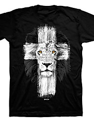 cheap -men's lion cross t-shirt - black -2x
