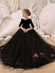 cheap -Princess / Ball Gown Sweep / Brush Train Wedding / Party Flower Girl Dresses - Lace / Organza Long Sleeve V Neck with Pleats / Appliques