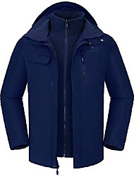 cheap -men's mountain ski jacket 3 in 1 waterproof winter jacket warm snow jacket hooded rain coat windproof winter coat (dark blue-1, s)