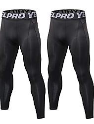 رخيصةأون -سروال ضغط للرجال عبوة من قطعتين بنطلون رياضي ضيق بطبقات أساسية (عبوتان: أسود XXL)