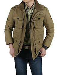 cheap -men's casual military windbreaker jacket cotton stand collar field coat with shoulder straps khaki