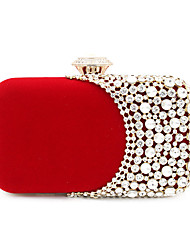 cheap -Women's Bags Polyester Alloy Evening Bag Buttons Crystals Solid Color Handbags Wedding Event / Party Black Red Green Drak Red