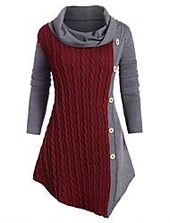 cheap -Women's Sweater Jumper Dress Knee Length Dress - Long Sleeve Solid Color Patchwork Fall Winter Work 2020 Black Wine Green Gray L XL XXL 3XL 4XL 5XL