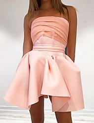 cheap -Women's Strap Dress Short Mini Dress - Sleeveless Solid Color Patchwork Summer Sexy Party 2020 Blushing Pink S M L