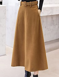 cheap -Women's Casual / Daily Basic Skirts Solid Colored Black Wine Khaki