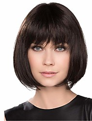 cheap -Human Hair Blend Wig Medium Length Natural Straight Bob With Bangs Dark Brown Blonde Life Women Hot Sale Capless Women's Chestnut Brown Beige Blonde / Bleached Blonde 12 inch