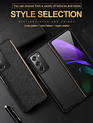 cheap -Case For Samsung Galaxy Galaxy Z Fold 2 Shockproof / Flip Full Body Cases Lines / Waves / Solid Colored Genuine Leather