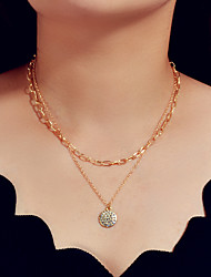 cheap -Women's Layered Necklace Double Layered Trendy Alloy Gold Silver 44 cm Necklace Jewelry For Gift Festival