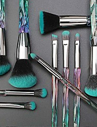 cheap -10 pcs diamond professional makeup brush set powder eyebrow eye shadow lip blush shinning beauty makeup brushes kits(green)