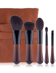 cheap -6 Pcs Drop-shaped Animal Hair Makeup Brushes With Wooden Handle Fine Light Peak Real Wool Makeup Brush Portable Beauty Tool Set