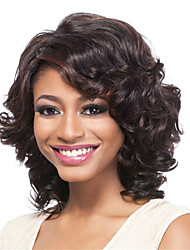 cheap -Synthetic Wig Curly Asymmetrical With Bangs Wig Short Dark Brown Synthetic Hair Women's Fashionable Design Romantic Fluffy Dark Brown