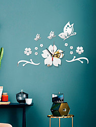 cheap -Morden Acrylic DIY Wall Clock, Silent Non-Ticking Flower Shape Mirror Wall Clocks Battery Operated Decorative Wall Clock for Office, Kitchen, Living Room