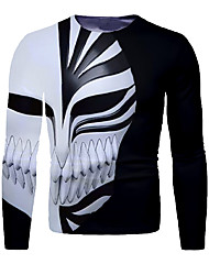 cheap -Men's 3D Graphic T-shirt Print Long Sleeve Daily Tops Round Neck Black / White
