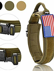 cheap -tactical dog collar with sturdy metal buckle 48mm wide army grade nylon military collars adjustable with patch american flag for medium large xl dogs(green, medium)
