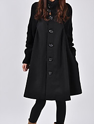 cheap -Women's Solid Colored Basic Fall & Winter Coat Long Daily Long Sleeve Cotton Coat Tops Black