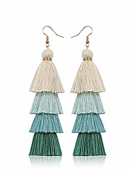 cheap -tassel earrings bohemian hand-woven beads colorful layered earrings green multi-color holiday gift for womens