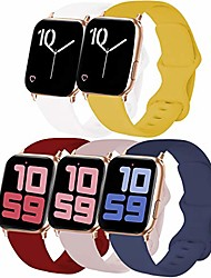 cheap -5-pack sport band compatible with watch band 42mm 44mm s/m, soft silicone watchband replacement strap compatible for watch series 5/4/3/2/1 (midnight blue/pink sand/white/wine red/yellow)