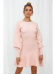 cheap -Women's Sweater Jumper Dress Short Mini Dress - Long Sleeve Solid Color Ruffle Patchwork Fall Winter Vintage Lantern Sleeve 2020 White Blushing Pink Light Blue S M L