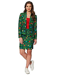 cheap -ugly christmas dress suit for women - green trees - includes skirt & jacket - us12 - l