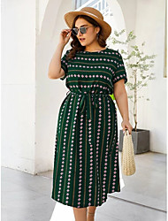 cheap -Women's Swing Dress Midi Dress Green Short Sleeve Print Patchwork Print Fall Round Neck Casual 2021 3XL 4XL 5XL 6XL / Plus Size