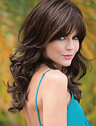 cheap -Synthetic Wig Curly With Bangs Wig Long Dark Brown Brown Synthetic Hair Women's Fashionable Design Easy to Carry Exquisite Dark Brown Brown