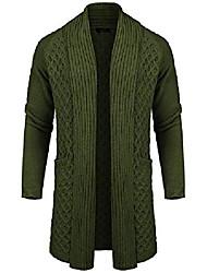 cheap -men's cardigan sweater long knit jacket solid  shawl collar coat