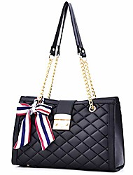 cheap -women's fashion pu leather handle satchel handbag shoulder bag tote purse quilted designer with chain strap, black, large