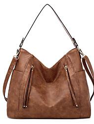 cheap -Women's Bags PU Leather Waterproof Top Handle Bag Hobo Bag Zipper Outdoor Handbags Black Red Khaki Brown