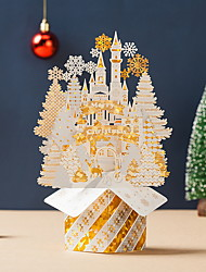 cheap -Christmas Greeting Card Christmas Eve Thank You Card Gilding Three-dimensional Christmas Golden Castle