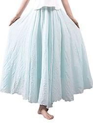 cheap -women bohemian cotton linen double layer elastic waist long maxi skirt light blue