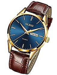 cheap -olevs men's business dress watches luminous analog quartz alloy genuine leather strap buckle band calendar date day dial casual wristwatch for men father boyfriend waterproof classic brown