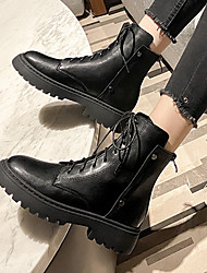 cheap -Women's Boots Chunky Heel Round Toe Booties Ankle Boots British Daily PU Solid Colored Black / Booties / Ankle Boots / Booties / Ankle Boots