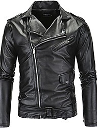 cheap -men's leather motorcycle biker jacket police style faux leather jackets, black, large