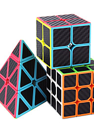 cheap -Speed Cube Set 3 pcs Magic Cube IQ Cube Carbon Fiber 2*2*2 3*3*3 Speedcubing Bundle 3D Puzzle Cube Stress Reliever Puzzle Cube Stickerless Smooth Office Desk Toys Pyramid Kid's Adults Toy Gift
