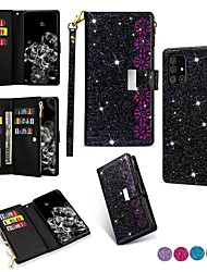 cheap -Case For Samsung Galaxy Note 20 Ultra A21S A70E A51 A71 5G A11 A20E A10E A31 A7 2018 A10 A20 A30 A70S Wallet Card Holder with Stand Full Body Cases Solid Colored Glitter Shine PU Leather