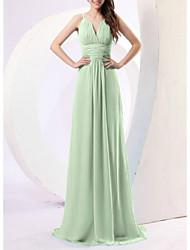 cheap -Sheath / Column Minimalist Elegant Prom Formal Evening Dress Spaghetti Strap Sleeveless Sweep / Brush Train Chiffon with Sleek Ruched 2021