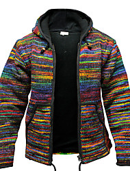 cheap -Men's Multi Color Casual / Daily Fall Regular Going out Long Sleeve Acrylic Fibers Coat Tops Black