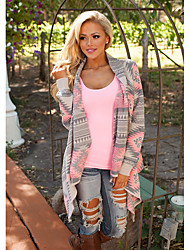 cheap -Women's Basic Knitted Geometric Argyle Cardigan Cotton Long Sleeve Sweater Cardigans Open Front Fall Winter Blushing Pink