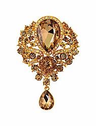 cheap -wedding bridal big crystal rhinestone bouquet brooch pin for women (champagne)