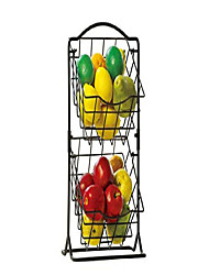 cheap -2-tier metal mini countertop fruit storage basket, antique black