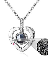 cheap -i love you necklace 100 languages for mom girlfriend   nano jewelry projection necklace gift set for her   love memory jewelry woman pendant (a-heart & silver)