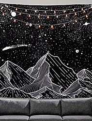"""cheap -mountain moon tapestry wall hanging stars black and white art tapestry home decor & #40;50"""" x 60""""& #41;"""