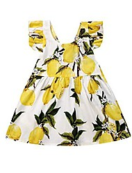 cheap -little girls lemon dress ruffled sleeve backless tie back sundress summer outfit for 1-6 years old (4-5 years)