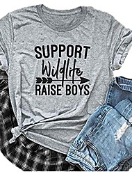cheap -support wildlife raise boys letter print funny t-shirt women casual basic tees tops blouse (small, gray)