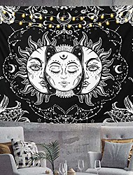 """cheap -wall tapestry, moon and sun black white hippie tapestry bohemian psychedelic indian wall hanging popular mystic art tapestry for home decor bedroom living room beach coverlet curtain, medium 79x58"""""""