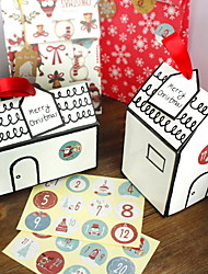 cheap -Christmas Gift Box Gift Packaging Box Christmas Candy Biscuit Paper Box With Number Stickers