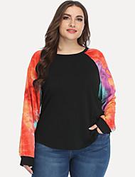 cheap -Women's Plus Size Blouse Shirt Tie Dye Long Sleeve Round Neck Basic Tops Purple