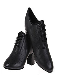 cheap -women lace-up leather dancing shoes chunky heel dancing shoes & #40;4. 5 us / 34& #41; black