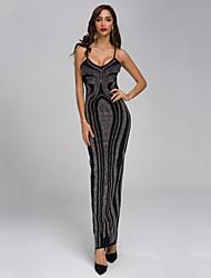cheap -Sheath / Column Sexy bodycon Prom Formal Evening Dress Spaghetti Strap Sleeveless Floor Length Spandex with Crystals Split 2020