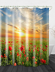 cheap -Sunshine And Flowers Digital PrintingShower Curtain With Hooks Suitable For Separate Wet And Dry Zone Divide Bathroom Shower Curtain Waterproof Oil-proof Modern Polyester New Design